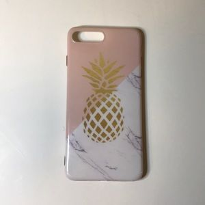 IPHONE 7PLUS Pink/marble pineapple case